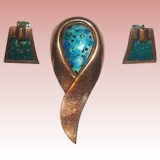 """Vintage Signed """"Renoir Matisse"""" Modernist Brooch with """"Matisse"""" Earrings"""