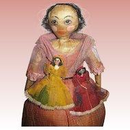 Rare Find--20's New Orleans Black Folk Art Doll w Two Tiny Girl Dolls