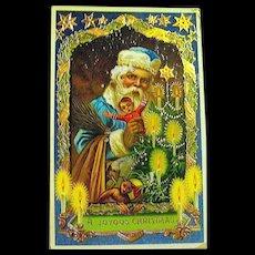 Barton Spooner Gel-Gilt Christmas Postcard, Santa Claus in Blue - Red Tag Sale Item