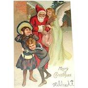 Early Un-Divided Back German Santa Claus, Angel, Children