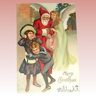 Early Un-Divided Back German Santa Claus, Angel, Children