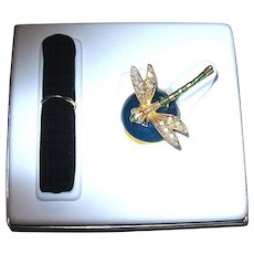 "MIBB  Estee Lauder ""Precious Dragonfly"" Solid FULL Perfume Compact"