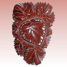 Beautiful Carved Heart & Leaf 30's Chocolate Brown Bakelite Dress Clip