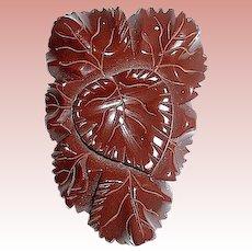 Beautiful Carved Heart & Leaf 30's Chocolate Brown Bakelite Dress Clip