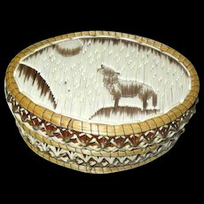North American Indian Quill Box - Wolf Howling At the Moon - Red Tag Sale Item