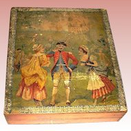 Antique Late 18th Century French Lithograph Puzzle Blocks, Orig. Box, Lithographs of French Life