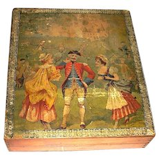 LAYAWAY           Antique Late 18th Century French Lithograph Puzzle Blocks, Orig. Box, Lithographs of French Life