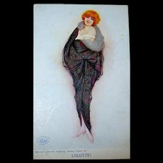 "Raphael Kirchner Signed ""LOLOTTE!"" Unused Glamour Woman Postcard"