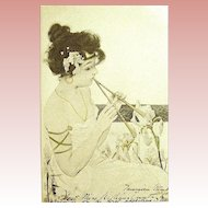 "HTF ""Maid of Athens"" Raphael Kirchner Art Nouveau Glamour Woman Postcard"