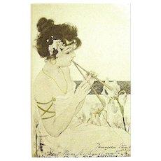 "HTF ""Maid of Athens"" Raphael Kirchner Art Nouveau Glamour Woman Postcard"