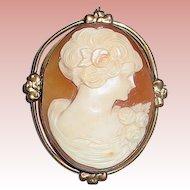 Pretty Carnelian Shell Hand Carved Portrait Cameo Brooch