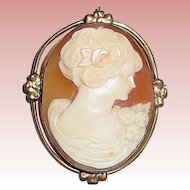 Pretty Carnelian Shell Hand Carved Portrait Cameo Brooch