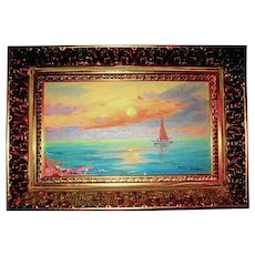 Impressionist Oil Painting ~ Sailboat ~ Sunset ~  Listed Artist