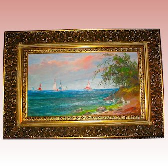 Beautiful Oil Painting of Sailboats by Listed Artist