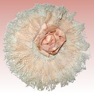 Victorian Rare Posey Bonnet for French or German Doll ~ Rare ~ Peach Silk