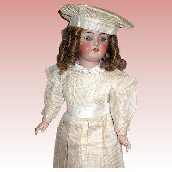 "Exceptional Simon Halbig 1078 Bisque Head Doll -25"" - Beautiful Silk Costume"