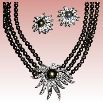 Gorgeous Unworn Heidi Daus Tahitian Faux Pearl Necklace Earrings Set