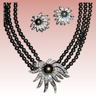 Tahitian Faux Pearl & Crystal Necklace & Earrings Set ~ Heidi Daus