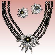 Tahitian Faux Pearl & Crystal Necklace & Earrings Set ~ Heidi Daus
