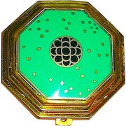 "Richard Hudnut Art Deco ""le Debut"" Green Cloisonne Compact"