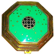 "Richard Hudnut Art Deco ""le Debut"" Green Cloisonne Compact"