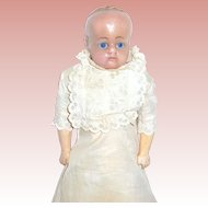 1850 English Poured Wax Doll, A/O Beautiful Christening Gown - SALE