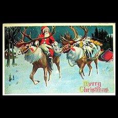 Extraordinary 1916 Santa Claus Riding a Reindeer Christmas Postcard