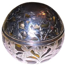 Sterling Silver Overlay Art Nouveau Covered Inkwell ~ 50% Sale