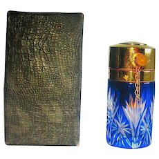 French Cobalt Cut To Clear Perfume Atomizer ~ MIB