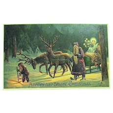 Rare Mailick Christmas Postcard - Weihnachtsmann, Gnome, Reindeer, Christ Child, Sledge