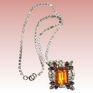 50% Off Sale Gorgeous Vintage Large Emerald Cut Pendant Necklace/Brooch