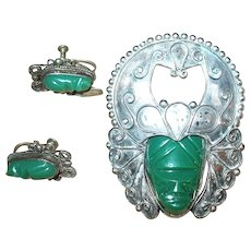 Mexican Sterling Silver Green Onyx Tribal Mask Brooch and Matching Earrings