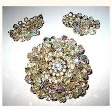 D & E / Juliana Large Fabulous Multi-Layered Crystal Brooch & Earrings Set