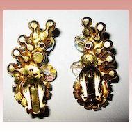 D & E / Juliana Large Fabulous Multi-Layered Crystal Brooch & Earrings Set