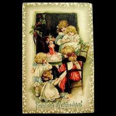 """Scarce Christmas Postcard, Schmucker Children, Santa Claus Cake """"Frohliche Weihnachten"""" Greeting - Red Tag Sale Item"""