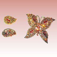 Large Unsigned WEISS Colorful Orange Topaz Rhinestone Butterfly Brooch & Clip Earrings—Mint