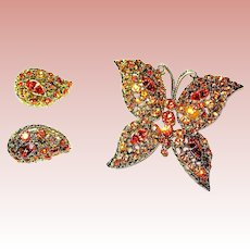 Large Unsigned WEISS Colorful Orange Topaz Rhinestone Butterfly Brooch & Clip Earrings—Mint