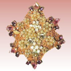 """Original by Robert"" Russian Gold Brooch w Colorful Rhinestones"