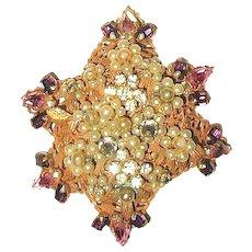"""Original by Robert"" Russian Gold Brooch w Colorful Rhinestones"
