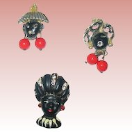 Three Delightful Vintage Blackamoor Face Scatter Pins