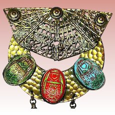 Large 20'S Egyptian Revival Brooch w Scarabs & Brass Chains