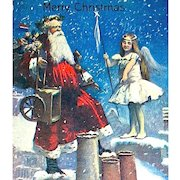 Valentine & Sons Santa Claus & Christmas Fairy Postcard ~ EXCELLENT & Rare