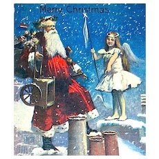 Valentine & Sons Santa Claus & Christmas Fairy Postcard ~ EXCELLENT & Rare