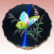 Beautiful Stratton Neon Blue Iridescent Compact w Butterfly & Foliage
