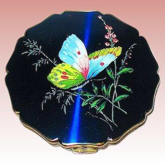 Beautiful Stratton Neon Blue Iridescent Compact w Butterfly & Foliage