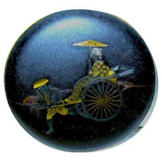 Vintage Japanese Damascene Compact ~ Lady Riding in Rickshaw ~ Marked Amita