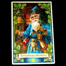 Beautiful GEL Christmas Postcard ~ Santa Claus, Blue Robe, Deer, Toys