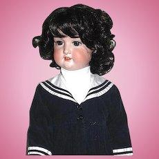 """Beautiful German A.M.  33"""" Bisque Head Doll ~ Excellent Vintage Sailor Dress"""
