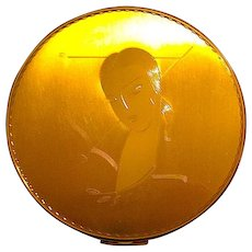 Gorgeous Vintage Powder Compact ~ Art Deco Lady w Long Neck