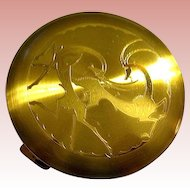 Rare Art Deco Powder Compact ~ Leaping Gazelles Design ~ Majestic